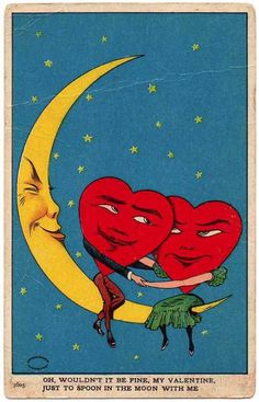 Anthromorphic hearts on a crescent moon - vintage Valentine