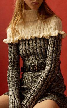 Ruffled Merino Colorblock Sweater by PHILOSOPHY DI LORENZO SERAFINI for Preorder on Moda Operandi