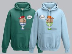 Twins Hoodie Set, Egg Buddies, 2 Pack, Sizes 3rs to 10yrs, Different Colour Combinations.