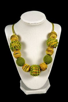 Golden Mix and Lime Knitted Bead Necklace by KnittenJensBeads