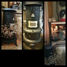 Repurpose the old oil heater into primitive decor 2 new lights from one great piece the belly stove lights up and the kerosene tank on the cabinet is the second light! http://www.facebook.com/AnnMarieHeathCustomFlorals?ref=hl