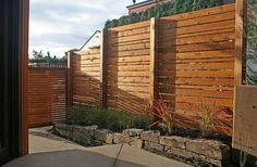 Splendid Wooden fence pickets,Garden fence on slope and Wood fence yard. Fence Landscaping, Backyard Fences, Garden Fencing, Modern Landscaping, Sloping Backyard, Pool Fence, Cerca Horizontal, Horizontal Fence, Privacy Fence Designs