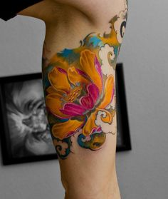 Unknown artist - colorful calf tattoo