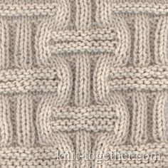 Wicker Stitch Pattern knitting pattern chart, Squares, Diamonds, Basket Stitch Patterns by farial Knitting Stiches, Knitting Charts, Loom Knitting, Free Knitting, Crochet Stitches, Baby Knitting, Knit Crochet, Stitch Patterns, Knitting Patterns