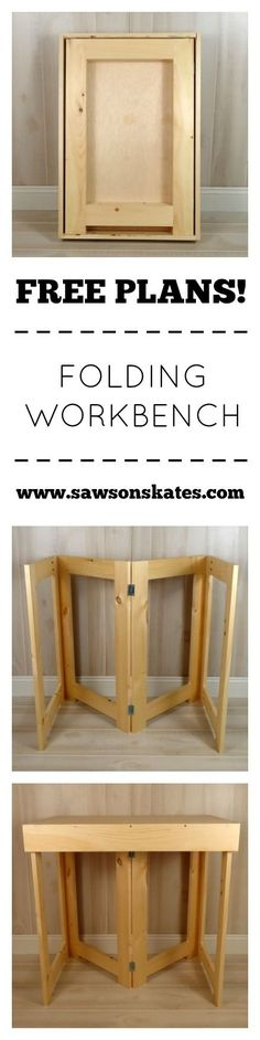 Free DIY Plans - Build a Folding Workbench | Saws on Skates | Organization Space Idea for Tools