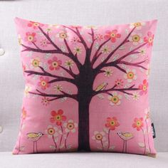 Pastoral rural tree pillow for living room natural flower square cushions