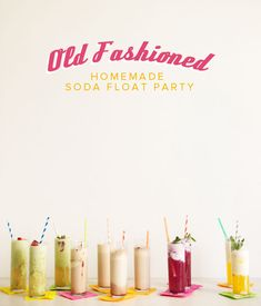 Old Fashioned Homemade Soda Party DIY #homemade #soda Chocolate Coffe Floats Clementine Vanilla Floats Blackberry Pineapple Coconut Ginger Lemon Green Tea