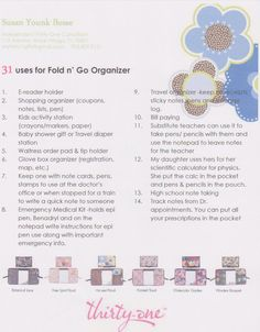 31 Uses for our Fold & Go Organizer www.mythirtyone.com/cierramcgriff