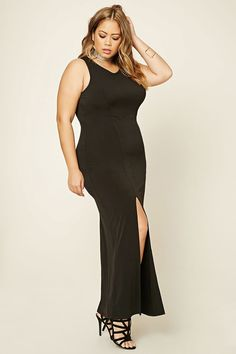 Forever 21+ - A stretch-knit maxi dress featuring an asymmetrical front slit, a sleeveless cut, a round neckline, a split back with a corset style lace-up design, O-rings, and a partial elasticized back.