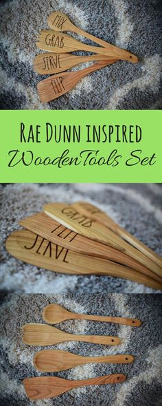 What fun tools for my kitchen! Rae Dunn Inspired Wooden Tools Set With Hand Burnt Words, Low Profile Spoons, Salad Fork, and Spatula #ad #afflink #raedunn #farmhouse #wooden #tools