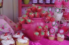 Homemade Strawberry Shortcake Invitations | ... Terra cotta strawberry pot pink and filled with strawberry cakepops