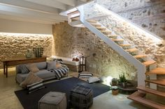 Nook under the stairs Interior Architecture, Interior And Exterior, Stone Interior, Rural House, Interior Decorating, Interior Design, House Stairs, Stone Houses, Staircase Design