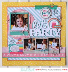 Jana Eubank PageMaps February Let's Party Echo Park Birthday Scrapbook Page Paper Bag Scrapbook, Baby Scrapbook, Scrapbook Supplies, Scrapbook Cards, Scrapbook Journal, Birthday Scrapbook Layouts, Scrapbook Layout Sketches, Scrapbooking Layouts, Scrapbook Designs