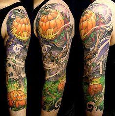 Ultimate List of Halloween Tattoos Great Pumpkin Halloween Tattoo Sleeve Best Sleeve Tattoos, Top Tattoos, Sleeve Tattoos For Women, Sexy Tattoos, Tattoos For Guys, Crazy Tattoos, Tattoo Sleeves, Arm Sleeves, Tatoos