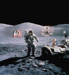 Making footsteps in the lunar soil.