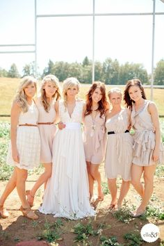 Mismatched Bridesmaid Dresses in Neutral Colors i love this! it looks so put together but could be cheap. this is like exactly what I want my wedding party to look. and all the groomsmen will be in jeans and vests Different Bridesmaid Dresses, Casual Bridesmaid, Different Dresses, Wedding Bridesmaids, Pastel Bridesmaids, Bridesmaid Ideas, Bridesmaid Gowns, Wedding Attire, Wedding Dresses