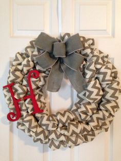 Hey, I found this really awesome Etsy listing at https://www.etsy.com/listing/181096644/chevron-burlap-wreath-with-initial-gray