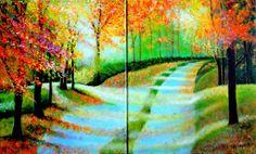 EL CAMINO DE LA VIDA-2  Carmen G. Junyent (©2014 carmenjunyent.com) Pintura acrílica sobre lienzo. Díptico.