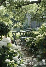 white dappled shade garden