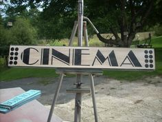 Cinema Sign Wooden Shabby Chic Painted Marquis Marquee movies Media room theatre on Etsy, $14.68