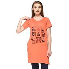 96a04c008a64ff IN Love Women s Cotton Half Sleeves Side Slits and Pocket Long Length  Nightwear T-Shirt