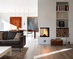 Three-sided fireplace with shelf construction behind. - Three-sided fireplace with shelf construction behind. Fireplace Shelves, Home Fireplace, Modern Fireplace, Living Room With Fireplace, Fireplace Design, Fireplace Mantels, Living Room Decor, Living Spaces, 3 Sided Fireplace