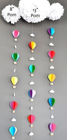 Globos de aire caliente con tejido Pom nube Up y lejos | Etsy