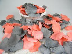 Coral & Grey Artificial Rose Petals | 200 | Coral and Gray Wedding | Flower Girl Basket Petals | Ceremony Petals Table Decor | NEW COLOR