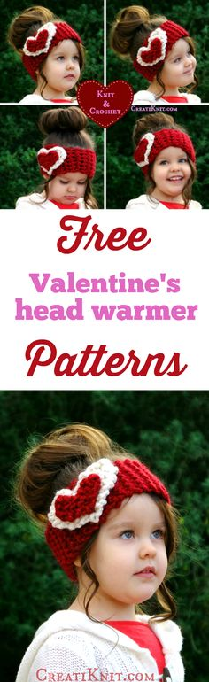 2 Free Valentine's Knit & Crochet patterns! Easy to knit and simple to crochet! Great beginner crochet and beginner knit projects! Click here to get it! http://www.creatiknit.com/archives/2-valentines-free-head-warmer-patterns/