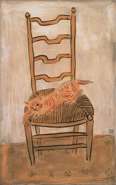 Chinese-French painter Sanyu 常玉 (or Chang Yu) (1901–1966) - Kitten on a Chair, 1930's - Oil on masonite