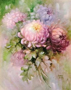 #38 Lovely Rick Deep Colored Mums China Painting Study by Sonie Ames 1970