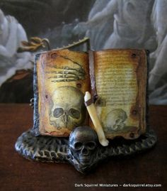 Spooky Skull Book  ooak dollhouse miniature in by DarkSquirrel, $25.00