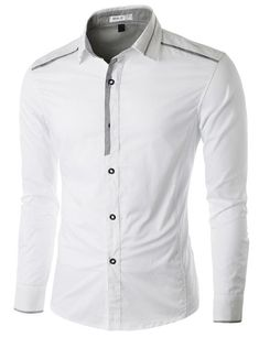 Doublju Men's Casual Button Down Shirt with Piping Detail Gents Shirts, Casual Shirts For Men, Men Casual, Mens Fashion Suits, Stylish Men, Look Cool, Shirt Outfit, Shirt Style, Menswear