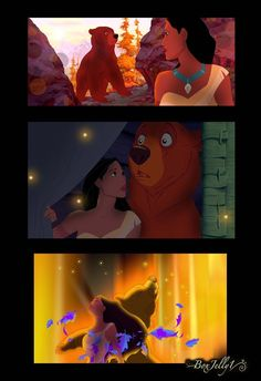 Here are three of the photomanipulations I made tonight for of her pairing Pocahontas and Kenai. I tried to work a lot with editing the lighting in thes. Beauty and the Bear Disney Au, Disney And More, Disney Fan Art, Cute Disney, Disney And Dreamworks, Disney Magic, Disney Pixar, Disney Pocahontas, Disney Crossovers