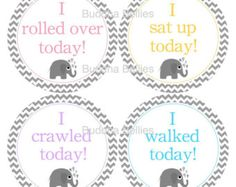 Baby Elephants Milestone Stickers...Rolled Over... Sit up...Crawled...Walked...Great Photo Prop - Baby Girl Accomplishment Stickers