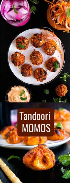 Tandoori momos featuring momos coated in tandoori paste and chargrilled to perfection. Indian Food Recipes, Vegetarian Recipes, Cooking Recipes, Healthy Recipes, Indian Snacks, Veg Recipes, Kitchen Recipes, Chicken Recipes, Cooking Tips
