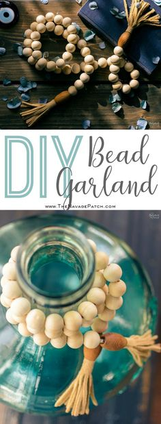 DIY Wood Bead Garland | How to make a wood bead garland in 5 minutes | DIY Bohemian style bead garland | DIY Bead Garland with DIY Tassels | Budget friendly farmhouse decor | DIY Bohemian style leather tassels | #DIY #tutorial #diytutorial #DIYHomeDecor #BohemianStyle #FarmhouseStyle | TheNavagePatch.com