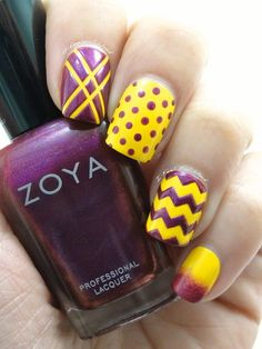 Nail Art. I like the purple but wouldn't do yellow with it. Maybe silver.
