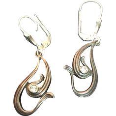 Sterling Aquamarine Modernist Earrings