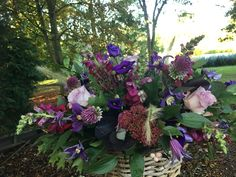 autumnal flower basket arrangement