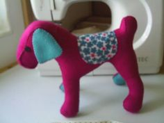 Free standing pink felt dog pincushionsewing aidBertie by fraline, €14.79