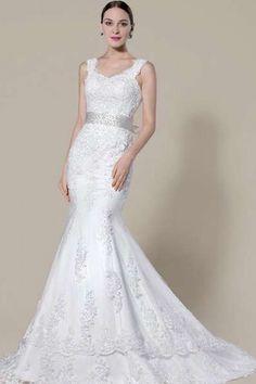 SHEILA - Mermaid Empire waist Chapel train Tulle Wedding dress