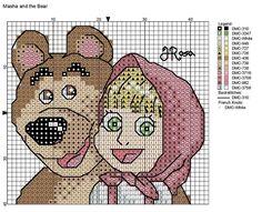 Masha és a medve - keresztszemes minta