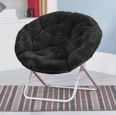 black fuzzy chair