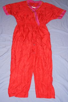 Vintage 1970's - Stuart Sport Silk Red JumpSuit by TheMercerStreetHouse on Etsy