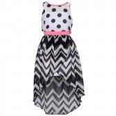 775fc9463a7 Bonnie Jean Big Girls Black White Dot Chevron Stripe Hi-Lo Dress 7-16
