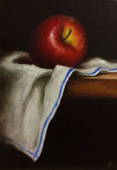 Red Apple on cloth - Full-frontal image, unframed Fruit Photography, Still Life Photography, Paint Photography, Apple Painting, Fruit Painting, Still Life Drawing, Still Life Oil Painting, Apple Art, Red Apple