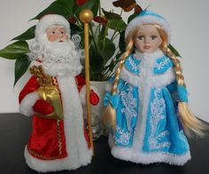 Russian Santa & Snow Maiden dolls figurines Ded Moroz Snegurochka Xmas New Year