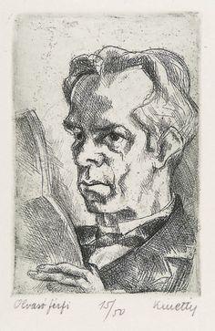 """Olvaso Ferfi (Reading Man)"", n.d., János Kmetty, Hungarian (1889-1975), etching on paper, 14.5 x 11 3/8 in. Unknown. 1950.1153"