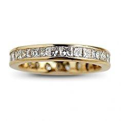 Estate 14kt Yellow Gold Princess Cut Diamond Wedding Band